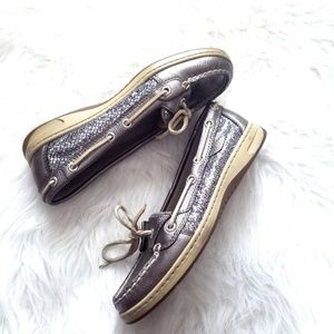 Sperry Top Sider Silver glitter and leather shoes
